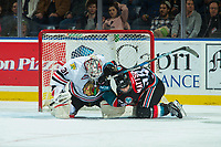KELOWNA, BC - OCTOBER 20: Cole Kehler #31 of the Portland Winterhawks gets tangled up in net with Leif Mattson #28 of the Kelowna Rockets during second period at Prospera Place on October 20, 2017 in Kelowna, Canada. (Photo by Marissa Baecker/Getty Images)