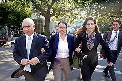 03 June  2015. New Orleans, Louisiana. <br /> L/R Ryan LeBlanc, his mother Renee LeBlanc and Rita Benson LeBlanc leave Civil Distrcit Court where they attended day 3 of a hearing to determine the competency of grandfather/father Tom Benson. Benson is the billionaire owner of the NFL New Orleans Saints, the NBA New Orleans Pelicans, various auto dealerships, banks, property assets and a slew of business interests. Rita, her brother and mother demanded a competency hearing after Benson changed his succession plans and decided to leave the bulk of his estate to third wife Gayle, sparking a controversial fight over control of the Benson business empire.<br /> Photo©; Charlie Varley/varleypix.com