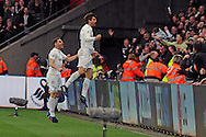 Swansea's Fernando Llorente (in air) celebrates after scoring his teams 3rd goal.  Premier league match, Swansea city v Burnley at the Liberty Stadium in Swansea, South Wales on Saturday 4th March 2017.<br /> pic by  Carl Robertson, Andrew Orchard sports photography.