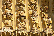 """Paris - France - Notre Dame - Front with Sataues . Notre-Dame de Paris, meaning """"Our Lady of Paris"""", referred to simply as Notre-Dame, is a medieval Catholic cathedral on the Île de la Cité. The Notre-Dame cathedral was consecrated to the Virgin Mary and considered to be one of the finest examples of French Gothic architecture. Notre-Dame's pioneering use of the rib vault and flying buttress, its enormous and colourful rose windows, as well as the naturalism and abundance of its sculptural decoration..<br /> <br /> Visit our MEDIEVAL PHOTO COLLECTIONS for more   photos  to download or buy as prints https://funkystock.photoshelter.com/gallery-collection/Medieval-Middle-Ages-Historic-Places-Arcaeological-Sites-Pictures-Images-of/C0000B5ZA54_WD0s"""