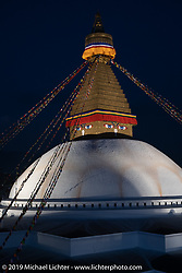 Boudhanath Stupa in Kathmandu before leaving on Motorcycle Sherpa's Ride to the Heavens motorcycle adventure in the Himalayas of Nepal. Sunday, November 3, 2019. Photography ©2019 Michael Lichter.