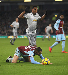 Phillip Bardsley of Burnley and Anthony Martial (Top) of Manchester United in action - Mandatory by-line: Jack Phillips/JMP - 20/01/2018 - FOOTBALL - Turf Moor - Burnley, England - Burnley v Manchester United - English Premier League