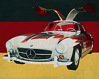The 1965 Mercedes 300SL Gullwings is the most iconic Mercedes ever made with its doors opening. There are also regular versions made of this Mercedes but this one has been the most talked about. This Mercedes 300SL Gullwings is also one of the most coveted cars for collectors.<br /> <br /> This painting of the 1965 Mercedes 300SL Gullwings in front of the German flag can be purchased in various sizes and printed on canvas as well as wood and metal. You can also have the painting finished with an acrylic plate over it which gives it more depth.<br /> -<br /> - -<br /> -<br /> BUY THIS PRINT AT<br /> <br /> FINE ART AMERICA<br /> ENGLISH<br /> https://janke.pixels.com/featured/mercedes-300sl-gullwings-from-1965-in-front-of-german-flag-jan-keteleer.html<br /> <br /> <br /> WADM / OH MY PRINTS<br /> DUTCH / FRENCH / GERMAN<br /> https://www.werkaandemuur.nl/nl/shopwerk/Mercedes-300SL-Goellwings-uit-1965-voor-de-Duitse-vlag/661948/132?mediumId=1