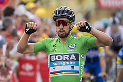 July 11, 2018 - Quimper, FRANCE - 180711 Peter Sagan of Bora–Hansgrohe celebrates winning the stage five of Tour de France between Lorient and Quimper on July 10, 2018 in Quimper. .Photo: Fredrik Varfjell / BILDBYRÃ…N / kod FV / 150119 (Credit Image: © Fredrik Varfjell/Bildbyran via ZUMA Press)