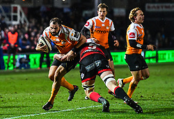 Cheetahs' Niel Marais is tackled by Dragons' Cory Hill<br /> <br /> Photographer Craig Thomas/Replay Images<br /> <br /> Guinness PRO14 Round 18 - Dragons v Cheetahs - Friday 23rd March 2018 - Rodney Parade - Newport<br /> <br /> World Copyright © Replay Images . All rights reserved. info@replayimages.co.uk - http://replayimages.co.uk