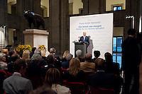 """03 AUG 2009, BERLIN/GERMANY:<br /> Frank-Walter Steinmeier, SPD, Bundesaussenminister und Kanzlerkandidat, Veranstaltung der Karl-Schiller-Stiftung zum Thema """"Die Arbeit von morgen - Politik fuer das naechste Jahrzehnt"""", Baerensaal, Altes Stadthaus<br /> IMAGE: 20090803-02-050<br /> KEYWORDS: Deutschland-Plan, Rede, speech"""
