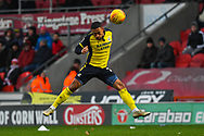 Jordan Clarke of Scunthorpe United (2) heads the ball defensively during the EFL Sky Bet League 1 match between Doncaster Rovers and Scunthorpe United at the Keepmoat Stadium, Doncaster, England on 15 December 2018.