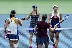 September 8, 2017 - SEP 08, 2017: (L-R) Shuai Peng (CHN), Martina Hingis (SUI), Sania Mirza (IND) and Yung-Jan Chan (TPE) during the 2017 U.S. Open Tennis Championships at the USTA Billie Jean King National Tennis Center in Flushing, Queens, New York, USA. (Credit Image: © David Lobel/EQ Images via ZUMA Press)