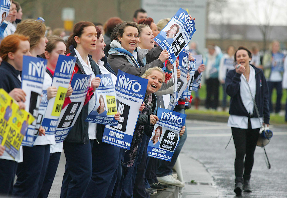 9/2/2011. Student Nurses Lunchtime Protest at Waterford Regional Hospital against pay cuts. Photo Patrick Browne
