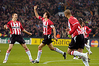 Fotball<br /> UEFA Champions League<br /> Foto: ProShots/Digitalsport<br /> NORWAY ONLY<br /> <br /> UEFA Champions League , PSV - Fenerbahce , 06-12-2005 ,  phillip Cocu en Timmy Simons vieren de 1-0