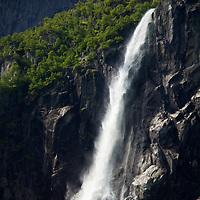 Europe, Norway, Olden. Volefossen Waterfall in Jostedalsbreen National Park.