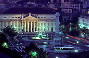 PORTUGAL, LISBON the Rossio Plaza or Praca de Dom Pedro IV with the National Theater at night, in the central city.