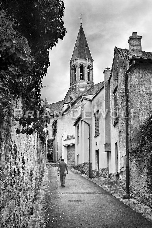 Churches remain centerpieces in many French villages. Louveciennes is hilly, close-quartered and has intimate winding streets, walks, and alleys.  Aspect Ratio 1w x 1.5h.