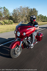 Motorcycle Racer Carey Hart riding a  2017 Indian Chieftain Elite during Daytona Beach Bike Week. FL, USA. Friday March 10, 2017. Photography ©2017 Michael Lichter.