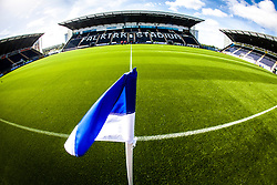 The three stands at The Falkirk Stadium, with the new pitch, for the Scottish Championship game v Hamilton. The woven GreenFields MX synthetic turf and the surface has been specifically designed for football with 50mm tufts compared with the longer 65mm which has been used for mixed football and rugby uses.  It is fully FFA two star compliant and conforms to rules laid out by the SPL and SFL.<br /> ©Michael Schofield.