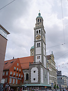 View of the Perlachtrum along Rathausplatz, Augsburg, Bavaria, Germany