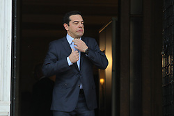 April 5, 2017 - Athens, Greece - Greek Prime Minister Alexis Tsipras, wait the European Council President Donald Tusk  at Maximos Mansion in Athens. Rescue lenders from Eurozone countries and the International Monetary Fund are at odds over the severity of future cuts being demanded of Athens and actions needed to make Greece's massive national debt sustainable. (Credit Image: © Aristidis Vafeiadakis via ZUMA Wire)