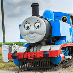 Strasburg, PA, USA, June 17, 2012: Thomas the Tank Engine chugs on the tracks into Strasburg, PA.