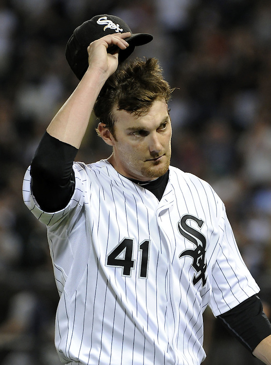 CHICAGO - JUNE 07:  Phil Humber #41 of the Chicago White Sox tips his cap to acknowledge the fans cheers after being removed from the game in the eighth inning against the Seattle Mariners on June 7, 2011 at U.S. Cellular Field in Chicago, Illinois.  The White Sox defeated the Mariners 5-1.  (Photo by Ron Vesely)  Subject:  Phil Humber