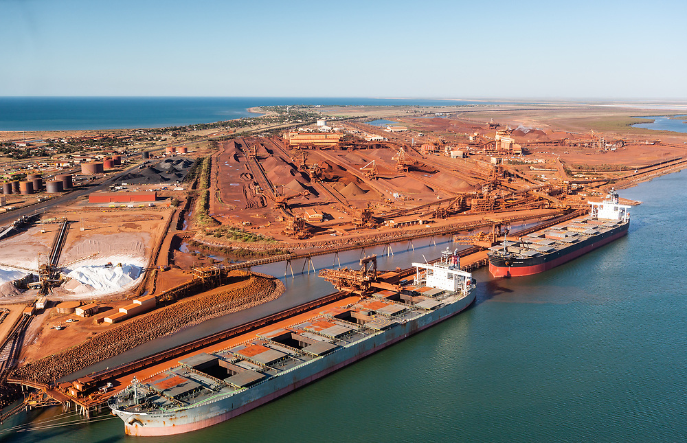 File picture of Ore Carriers waiting to be loaded at stock yard at the Pilbara port of Port Hedland in the north west of Western Australia.