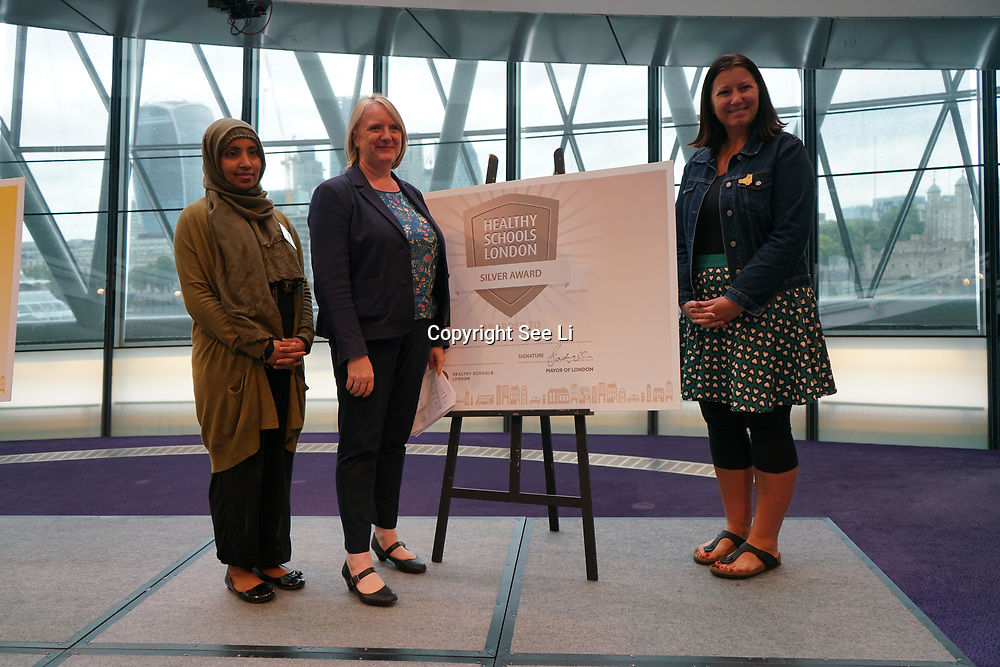"""City Hall, London, Uk, 29th June 2017. Chisenhale Primary, Columbia Primary School, John Scurr school, Clara Grant School, Bangabandhu """"silver Awards"""" of the City Hall awards at the Health and education experts celebrate London's healthiest schools."""