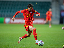 TALLINN, ESTONIA - Monday, October 11, 2021: Wales' substitute Brennan Johnson during the FIFA World Cup Qatar 2022 Qualifying Group E match between Estonia and Wales at the A. Le Coq Arena. Wales won 1-0. (Pic by David Rawcliffe/Propaganda)