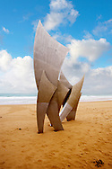 """""""the Brave Men' scupture in the sand at Omaha D Day landing beach, Normandy, France. . Omaha, commonly known as Omaha Beach, was the code name for one of the five sectors of the Allied invasion of German-occupied France in the Normandy landings on June 6, 1944, during World War II. .<br /> <br /> Visit our FRANCE HISTORIC PLACES PHOTO COLLECTIONS for more photos to download or buy as wall art prints https://funkystock.photoshelter.com/gallery-collection/Pictures-Images-of-France-Photos-of-French-Historic-Landmark-Sites/C0000pDRcOaIqj8E"""