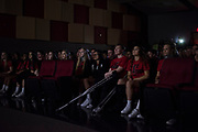 The Iraan High School cheerleaders look on during a pep rally in Iraan, Texas on December 14, 2016. (Cooper Neill for The New York Times)