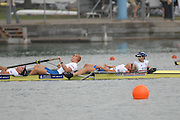 Munich, GERMANY, 02.09.2007,   A Final, USA M4+ GBR M4+ and GERM4+, crossing the line Men's  at  the 2007 World Rowing Championships, taking place on the  Munich Olympic Regatta Course, Bavaria. [Mandatory Credit. Peter Spurrier/Intersport Images]. , Rowing Course, Olympic Regatta Rowing Course, Munich, GERMANY