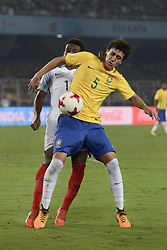 October 25, 2017 - Kolkata, West Bengal, India - Brazil Victor Bobsin (jersey 5) in action during the FIFA U 17 World Cup India 2017 Semi Final match in Kolkata. Players of England and Brazil in action during the FIFA U 17 World Cup India 2017 Semi Final match on October 25, 2017 in Kolkata. (Credit Image: © Saikat Paul/Pacific Press via ZUMA Wire)