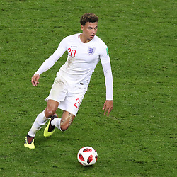 July 11, 2018 - Moscow, Russia - July 11, 2018, Moscow, FIFA World Cup 2018 Football, the playoff round. 1/2 finals of the World Cup. Football match Croatia - England at the stadium Luzhniki. Player of the national team Deli Alli. (Credit Image: © Russian Look via ZUMA Wire)