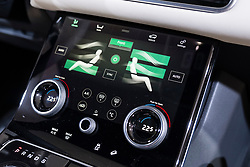 Detail of digital dashboard display inside new Land Rover Velar at 87th Geneva International Motor Show in Geneva Switzerland 2017