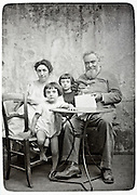 vintage casually happy gathering of little children with their grandparents