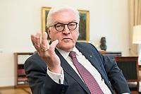 02 JUL 2018, BERLIN/GERMANY:<br /> Frank-Walter Steinmeier, Bundespraesident, waehrend einem Interview, Amtszimmer des Bundespraesidenten, Schloss Bellevue<br /> IMAGE: 20180702-01-003<br /> KEYWORDS: Bundespräsident