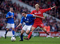 Photo. Glyn Thomas.<br /> Middlesbrough v Birmingham City.<br /> FA Barclaycard Premiership.<br /> Riverside Stadium, Middlesbrough. 20/03/2004.<br /> Boro's Gaizka Mendieta (R) battles for the ball with Stan Lazaridis.