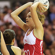Joanne Harten, England, in action during the New Zealand V England, New World International Netball Series, at the ILT Velodrome, Invercargill, New Zealand. 6th October 2011. Photo Tim Clayton...