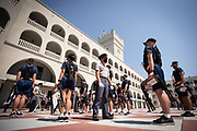 Knobs brace for their cadre on the quad of Padgett-Thomas Barracks during Challenge Week on August 16, 2020.<br /> <br /> Credit: Cameron Pollack / The Citadel