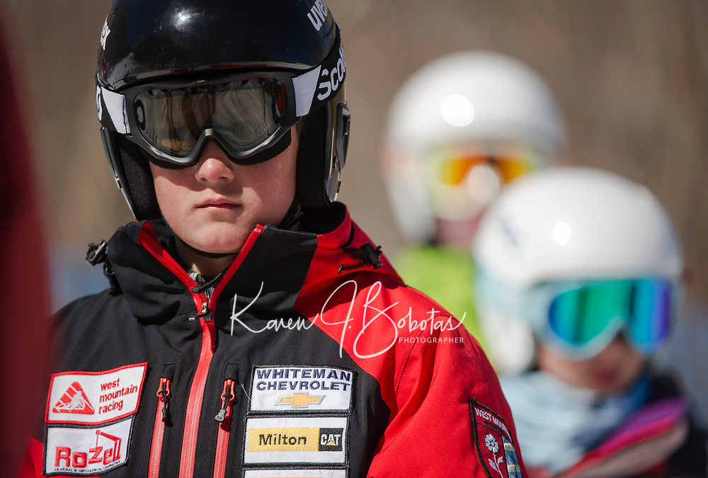 Francis Piche Invitational Giant Slalom U12 girls first run with Gunstock Ski Club.  <br /> ©2017 Karen Bobotas Photographer