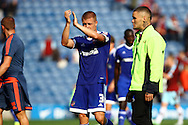 Jake Bidwell of Brentford applauds the supporters after the game. Skybet football league championship match, Burnley  v Brentford at Turf Moor in Burnley, Lancs on Saturday 22nd August 2015.<br /> pic by Chris Stading, Andrew Orchard sports photography.