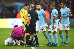 31 December 2017 -  Premier League - Crystal Palace v Manchester City - Referee John Moss looks on as Ederson Manchester City demonstrates the type of tackle that injured Kevin De Bruyne - Photo: Marc Atkins/Offside