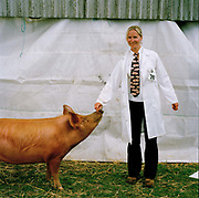 Lisa Kennedy, farm assistant, from Middlewich in Cheshire, 'I was always interested in animals and farms from being small, and began showing pigs for people more than 10 years ago. I bought some of my own Tamworths for my 30th birthday in 2007, and keep them on a friend's property. Tamworths are renowned for being the big characters of the pig world and I felt a personal affinity with the breed. They are very quick-witted and very good at escaping - remember the Tamworth Two? You have to keep a very close eye on them, because once one goes, they all go. .The Great Yorkshire Show, one of Britain's biggest agricultural shows, is famous for its competitive displays of livestock. The event, established in 1837, attracts over 125 000 visitors a year and has over 10 000 entries to its pedigree competitions ranging from pigeons and rabbits to bulls and shire horses.