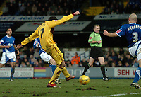 Photo: Ashley Pickering.<br />Ipswich Town v Burnley. Coca Cola Championship. 02/12/2006.<br />Kyle Lafferty fires in the opener for Burnley