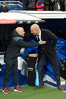 Real Madrid's coach Zinedine Zidane and Sevilla FC's  coach Jorge Sampaoli during Copa del Rey match between Real Madrid and Sevilla FC at Santiago Bernabeu Stadium in Madrid, Spain. January 04, 2017. (ALTERPHOTOS/BorjaB.Hojas)
