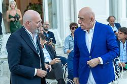STEFANO BONACCINI ADRIANO GALLIANI E GIOVANNI CARNEVALI  <br /> INAUGURAZIONE CALCIOMERCATO 2021 GRAND HOTEL RIMINI