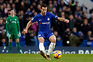 Cesar Azpilicueta of Chelsea in action. Premier League match, Chelsea v Leicester City at Stamford Bridge in London on Saturday 13th January 2018.<br /> pic by Steffan Bowen, Andrew Orchard sports photography.