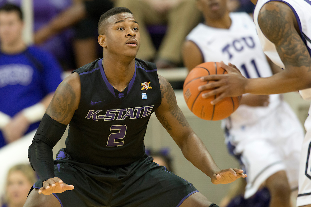 FORT WORTH, TX - JANUARY 7: Marcus Foster #2 of the Kansas State Wildcats defends against the TCU Horned Frogs on January 7, 2014 at Daniel-Meyer Coliseum in Fort Worth, Texas.  (Photo by Cooper Neill/Getty Images) *** Local Caption *** Marcus Foster