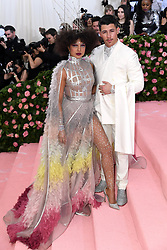 "Priyanka Chopra and Nick Jonas at the 2019 Costume Institute Benefit Gala celebrating the opening of ""Camp: Notes on Fashion"".<br />