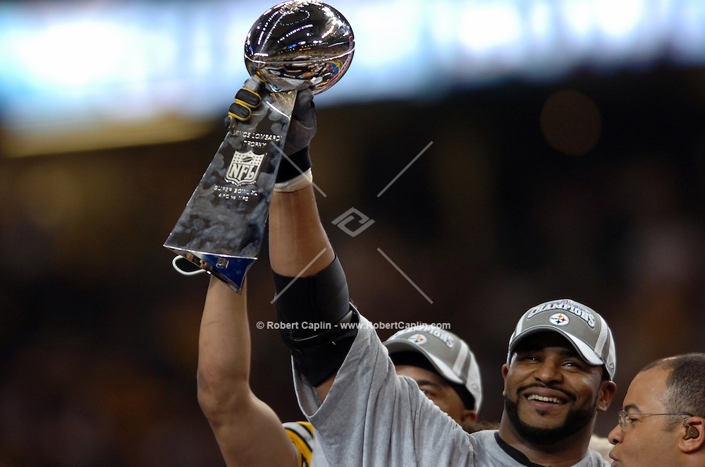 Jerome Bettis celebrating after game. (Robert Caplin For The New York Times)..