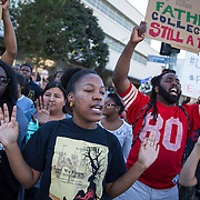 Protesters on the streets of Los Angeles demonstrating against the decision in Ferguson, Missouri to not indict police officer in the shooting death of unarmed, black teenager Mike Brown.