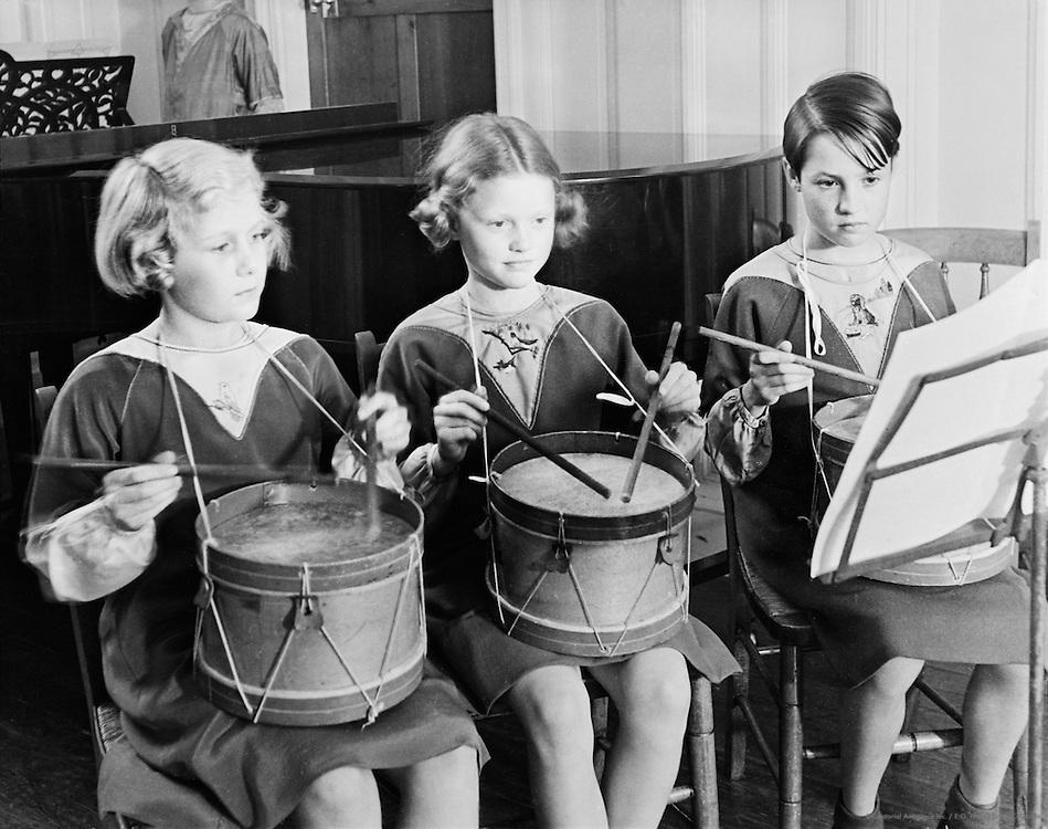 Girls Playing Drums, Roedean School, Brighton, England, 1935
